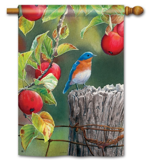 """Orchard Bluebird House Flag - 28"""" x 40"""""""