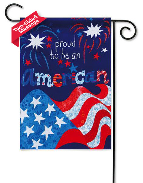 patriotic garden flag by evergreen reads correctly on both sides
