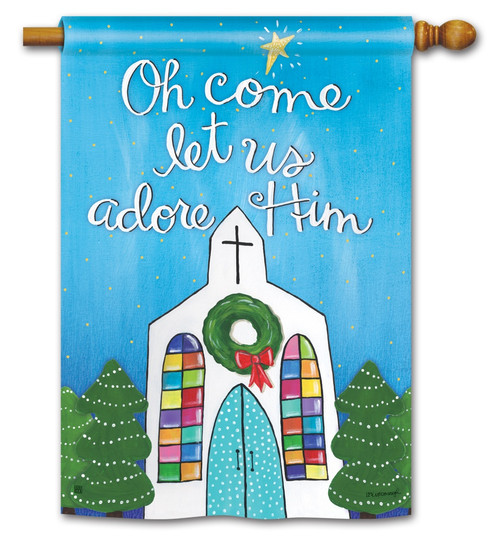 BreezeArt Adore Him Christmas Outdoor House Flag