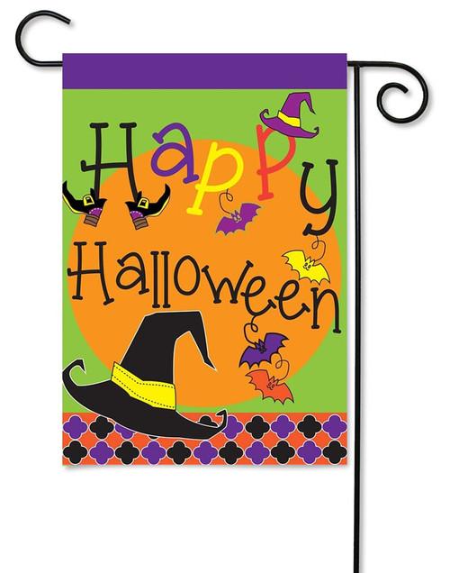Happy Halloween Burlap Garden Flag