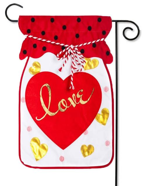 Jar Of Love Applique Valentine Garden Flag