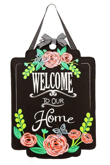 Welcome Roses Burlap Door Hanger