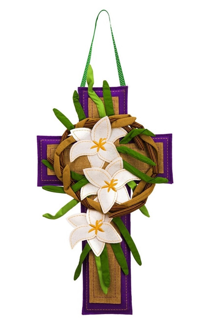 Easter Cross & Lily Burlap Door Decor