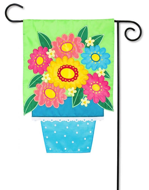 Flower Pot Applique Garden Flag
