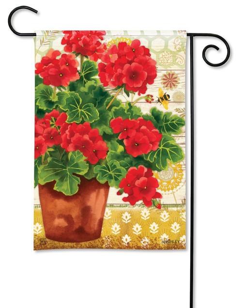 """Potted Geraniums Summer Garden Flag - 12.5"""" x 18"""" - BreezeArt"""