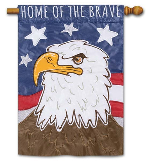Home of the Brave Applique House Flag