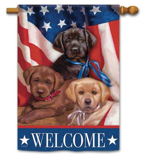 Patriotic Puppies House Flag
