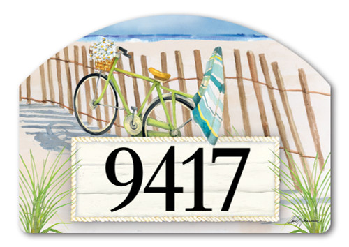 "Beach Trail Yard DeSign Address Sign - 14"" x 10"""