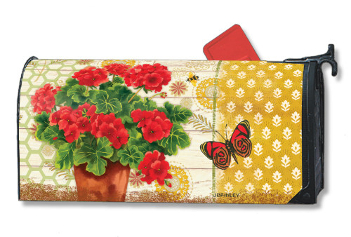 Potted Geraniums Magnetic Mailbox Cover