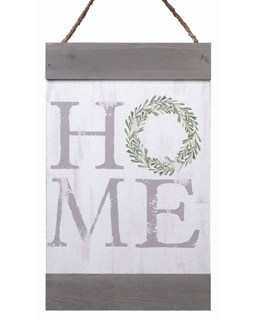 Home Distressed 11 x 18 Inch Solid Pine Wood Hanging Wall Banner