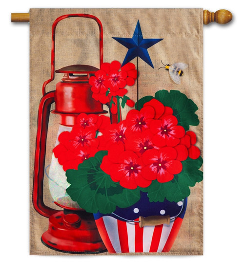 Rustic Patriotic Pot Burlap House Flag
