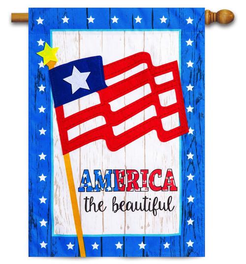 America the Beautiful Linen House Flag