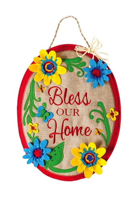 Bless Our Home Burlap Door Decor