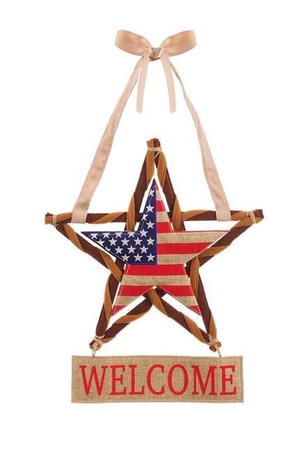 Patriotic Star Burlap Door Decor