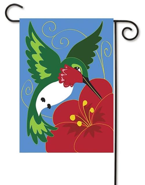 """Hummingbird Double Applique Garden Flag - 13"""" x 18"""" - Magnolia Lane"""