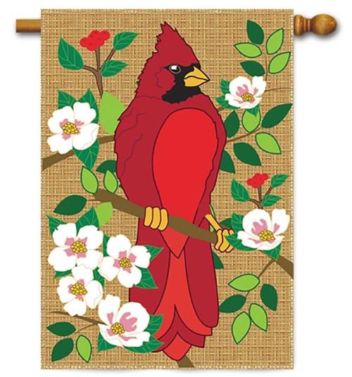 "Cardinal Burlap House Flag - 29"" x 42"" - Magnolia Lane"