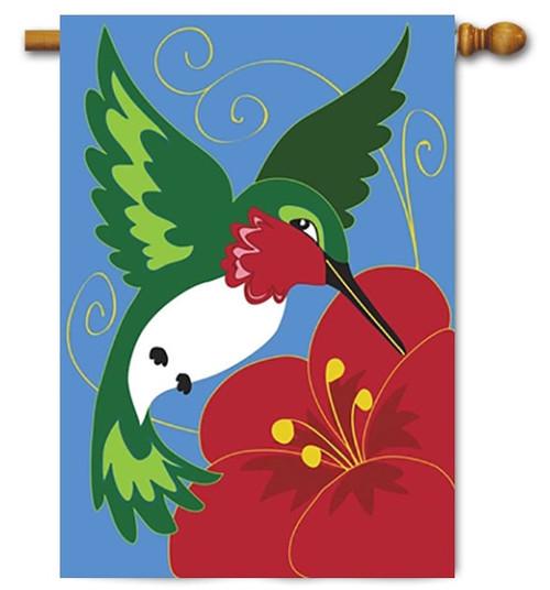 "Hummingbird Double Applique House Flag - 29"" x 42"" - Magnolia Lane"