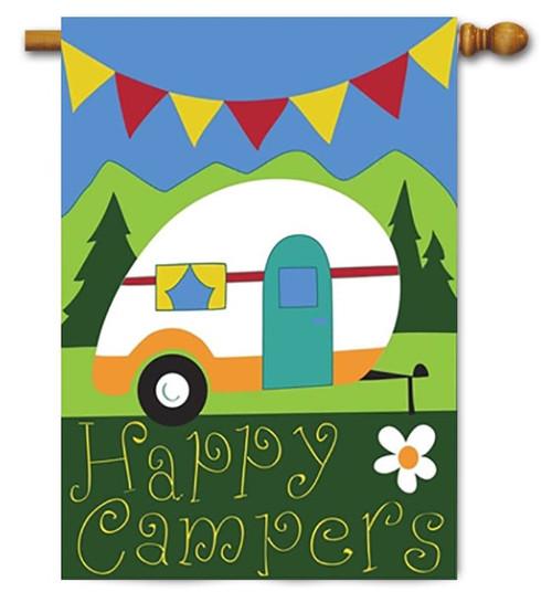 "Happy Campers Double Applique House Flag - 29"" x 42"" - Magnolia Lane"