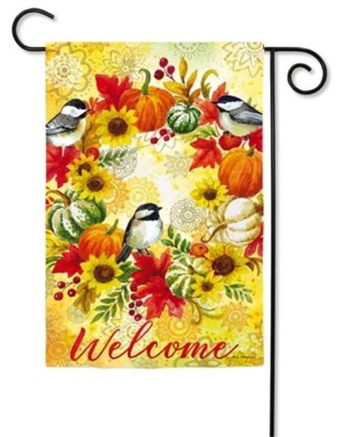 "Fall Wreath and Chickadees Garden Flag - 12.5"" x 18""  - Evergreen"