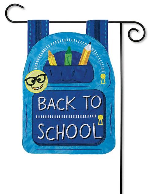 Back to School Bag Applique Decorative Garden Flag