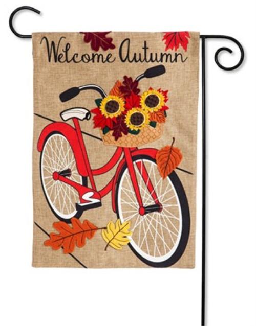 "Autumn Bicycle Burlap Garden Flag - 12.5"" x 18"" - Evergreen"