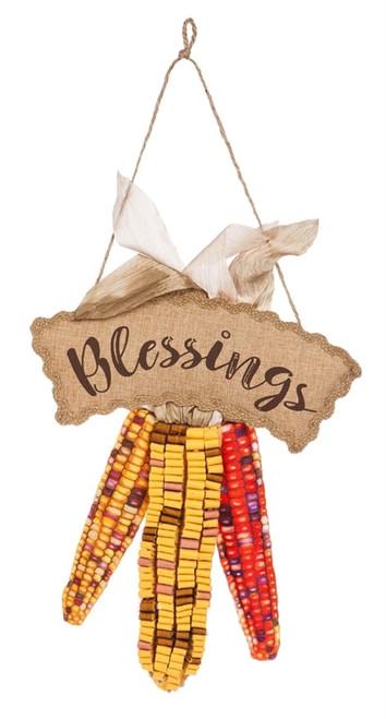 "Harvest Blessings Burlap Door Decor - 14"" x 21"" - Evergreen"