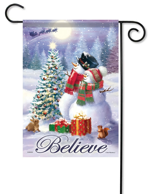 Snowman Couple Decorative Garden Flag