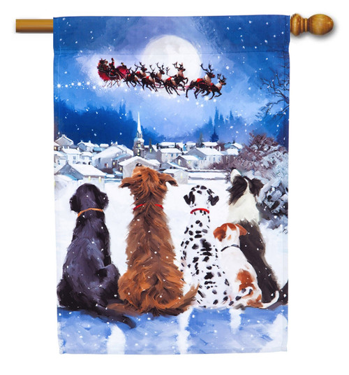 Christmas Dogs House Flag - Evergreen