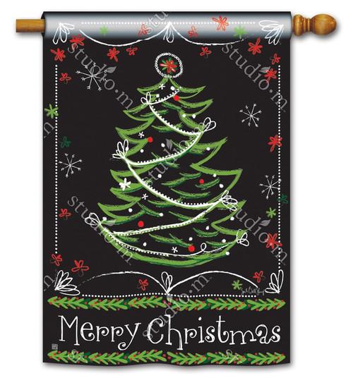 "Blackboard Christmas House Flag - 28"" x 40"" - BreezeArt"