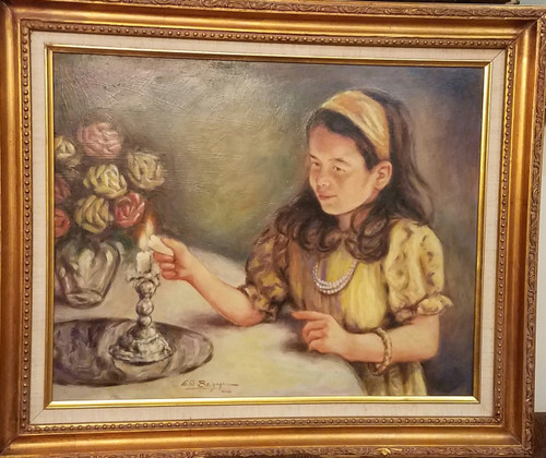 Lighting Shabbat Candles Original framed by Elie Benzaquen
