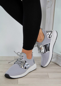 Lightweight Slip On Trainers Grey/Silver