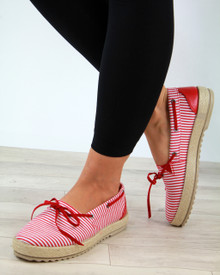 Bow Slip On Espadrilles Red