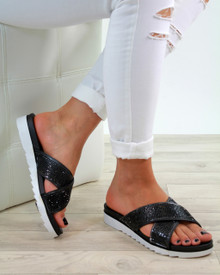 Cameron Black Diamante Sliders