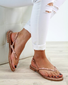 Grace Rose Gold Studded Strappy Sandals