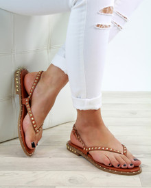 Grace Tan Studded Strappy Sandals