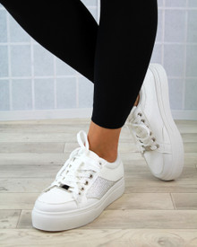 Hetty White Diamante Lace Up Creepers