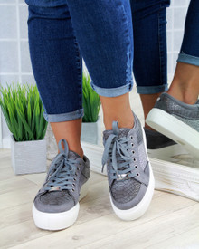 Hetty Grey Diamante Lace Up Creepers