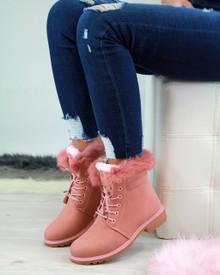 Annis Pink Faux Fur Biker Boots