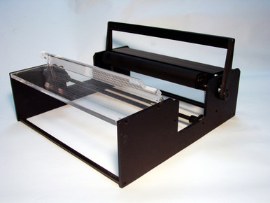 """The replacement roller is for the drum mounting station similar to the one visible in this image.  The roller is black in color as shown and approximately 18.75"""" in length."""