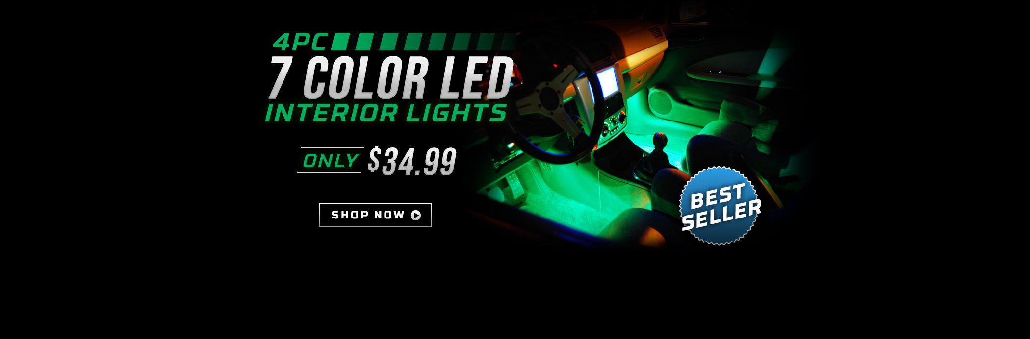 4pc 7 Color LED Interior Lights