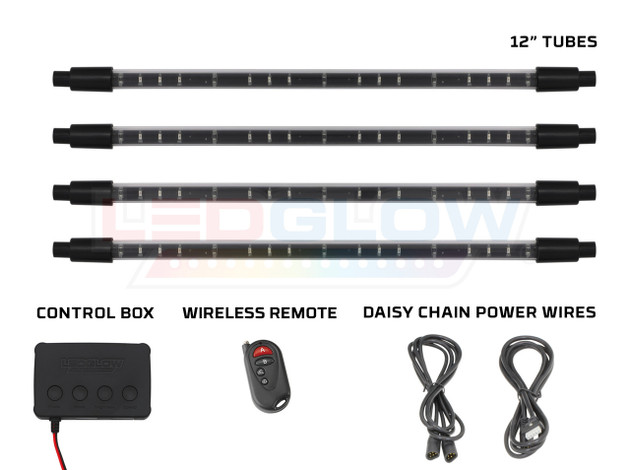 Purple Expandable SMD LED Interior Tubes, Control Box, Wireless Remote, & Daisy Chain Power Wires