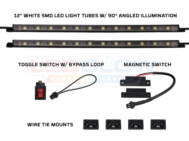 """2pc 12"""" White SMD LED Light Tubes, Toggle Switch & Magnetic Switch"""