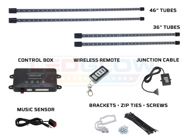 4pc Yellow Wireless SMD Underbody Tubes, Control Box, Wireless Remote, Junction Cable, Music Sensor & Installation Accessories
