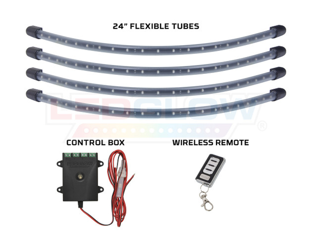 Orange Flexible LED Wheel Well Lights Tubes, Control Box & Wireless Remote