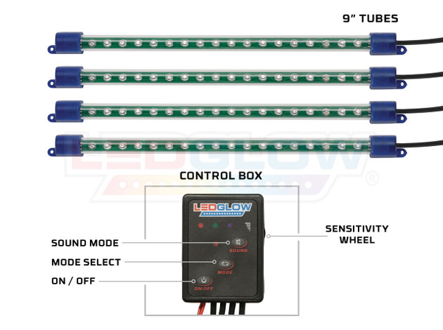 "4pc Green 9"" Interior Tubes & Control Box"
