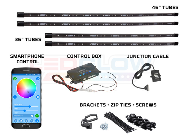 Million Color SMD LED Underbody Tubes, Control Box with Smartphone Control, Junction Cable, Music Sensor, & Mounting Hardware