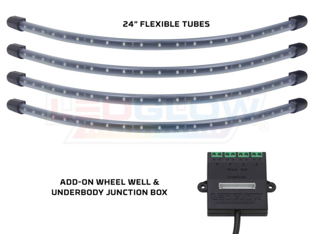 4pc Red Flexible LED Wheel Well Lighting Add-On Kit