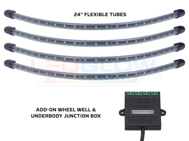 4pc White Flexible LED Wheel Well Lighting Add-On Kit