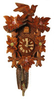 Rombach and Haas 1 Day Black Forest Bird Leaf and Painted Flowers Cuckoo Clock 1202P
