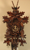 1-Day German Black Forest Hunting Cuckoo Clock 1230
